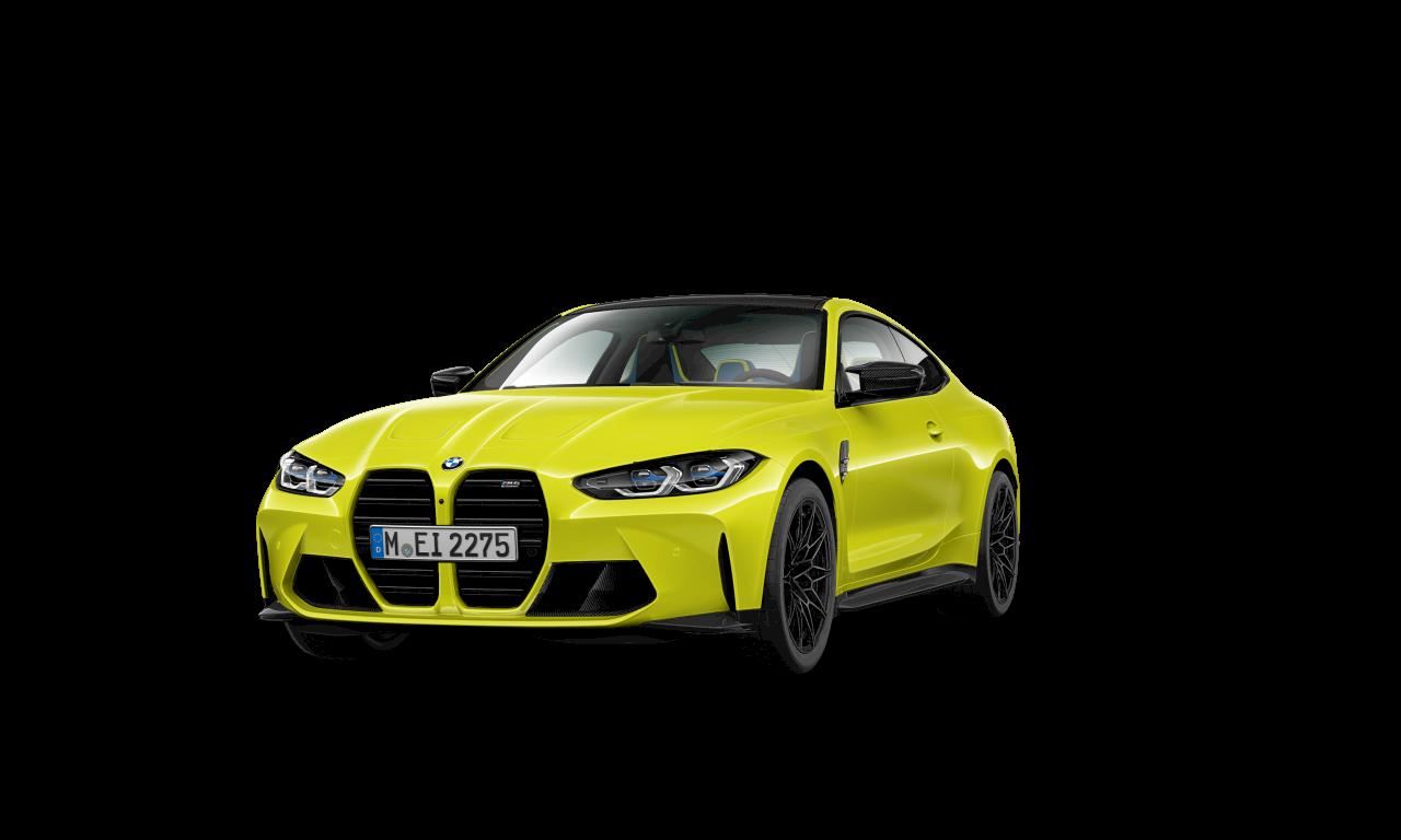 BMW M4 Competition Coupé G82 2020 Sao Paulo Yellow predobočný pohľad