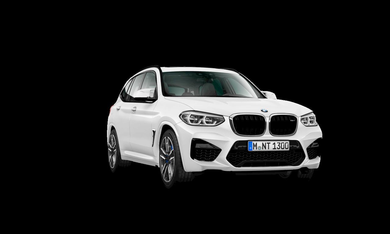 """الهيكل الخارجي لسيارة BMW X3 M باللون الأبيض """"الباين""""."""
