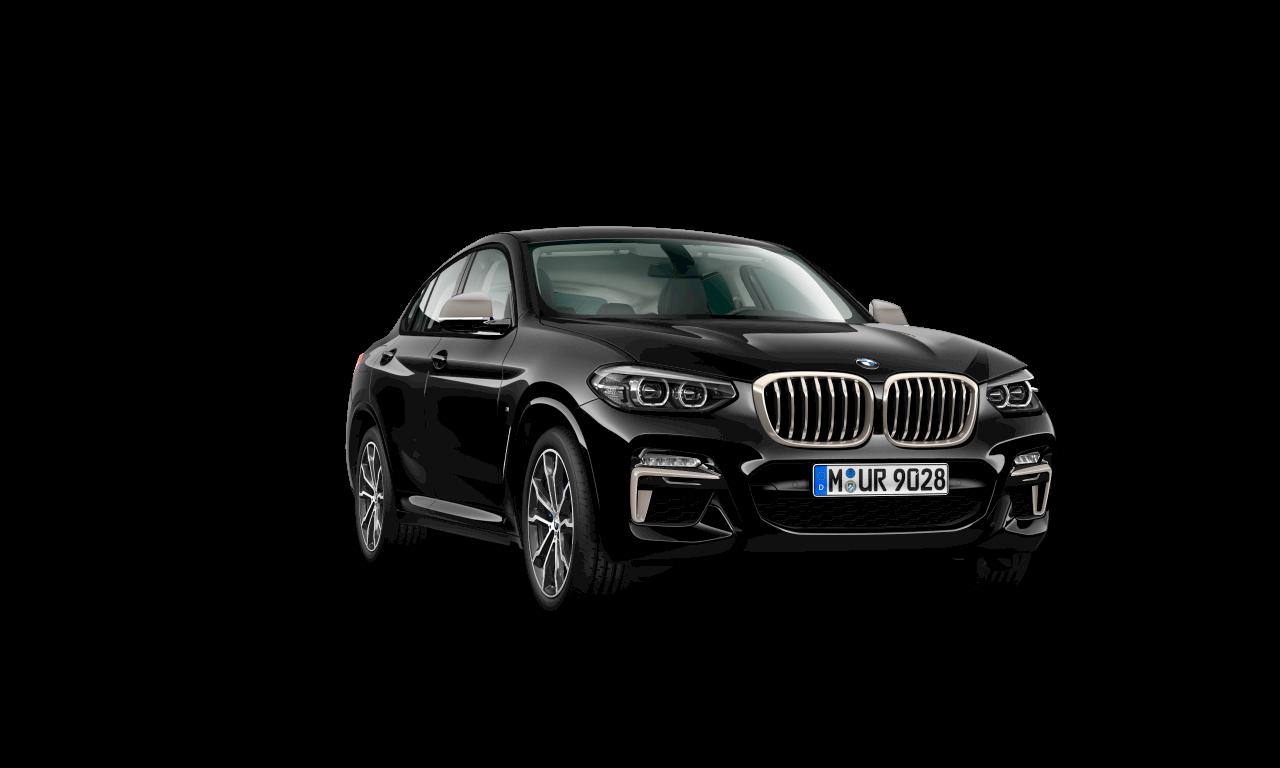 """سيارة BMW X4 M40i بلون أسود """"سفاير"""" الميتاليك، الهيكل الخارجي."""