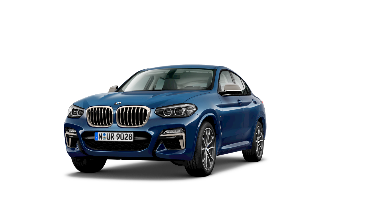 BMW X4 M40d in Phytonicblau metallic, Exterieur.