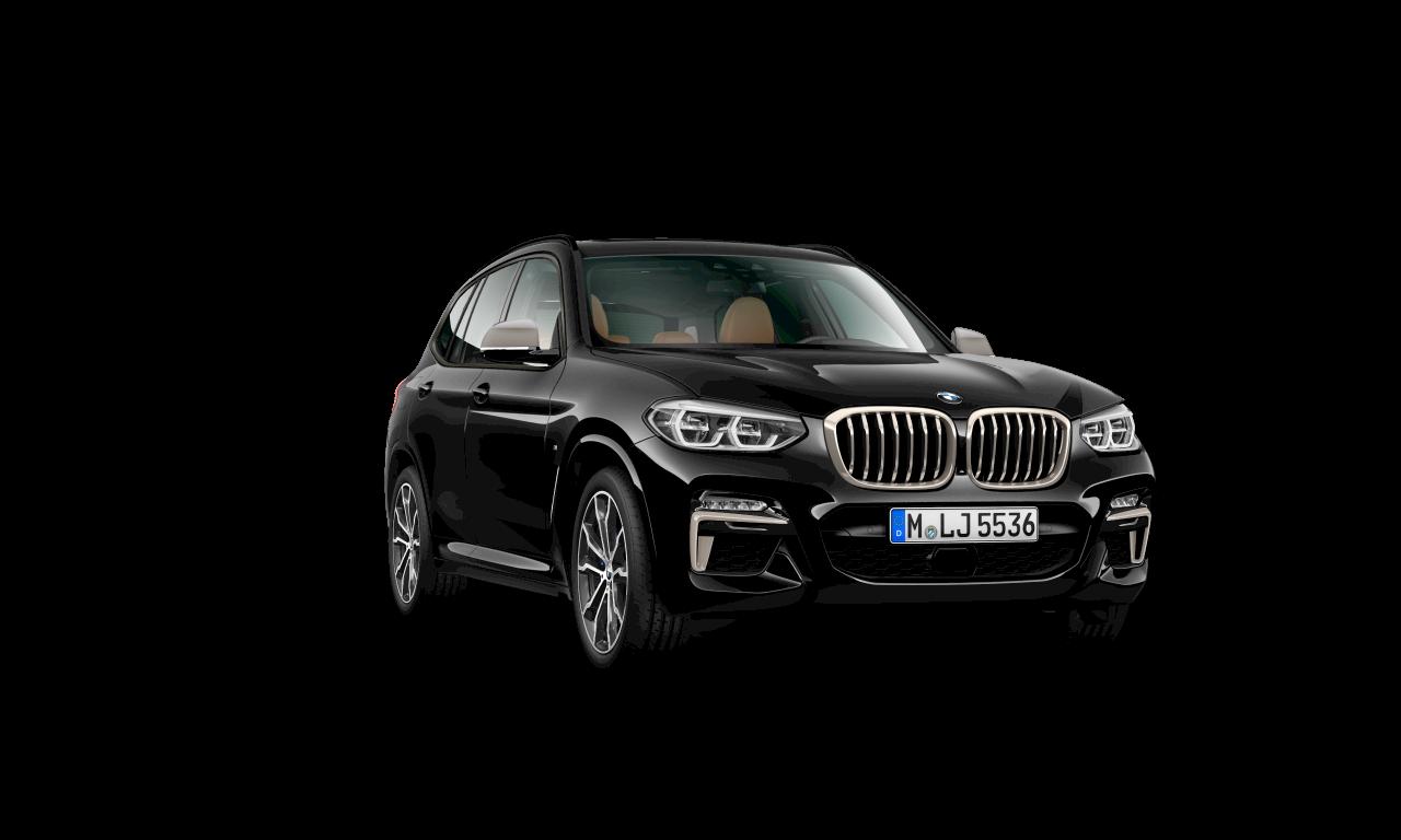 """الهيكل الخارجي لسيارة BMW X3 M40i باللون الأسود """"سفاير"""" ميتاليك."""
