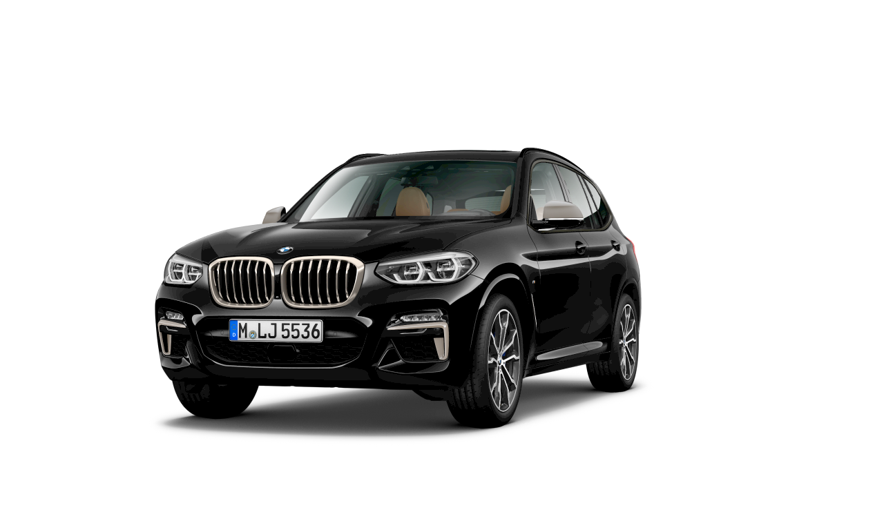 Utvendig design på BMW X3 M40i i safirsort metallic.