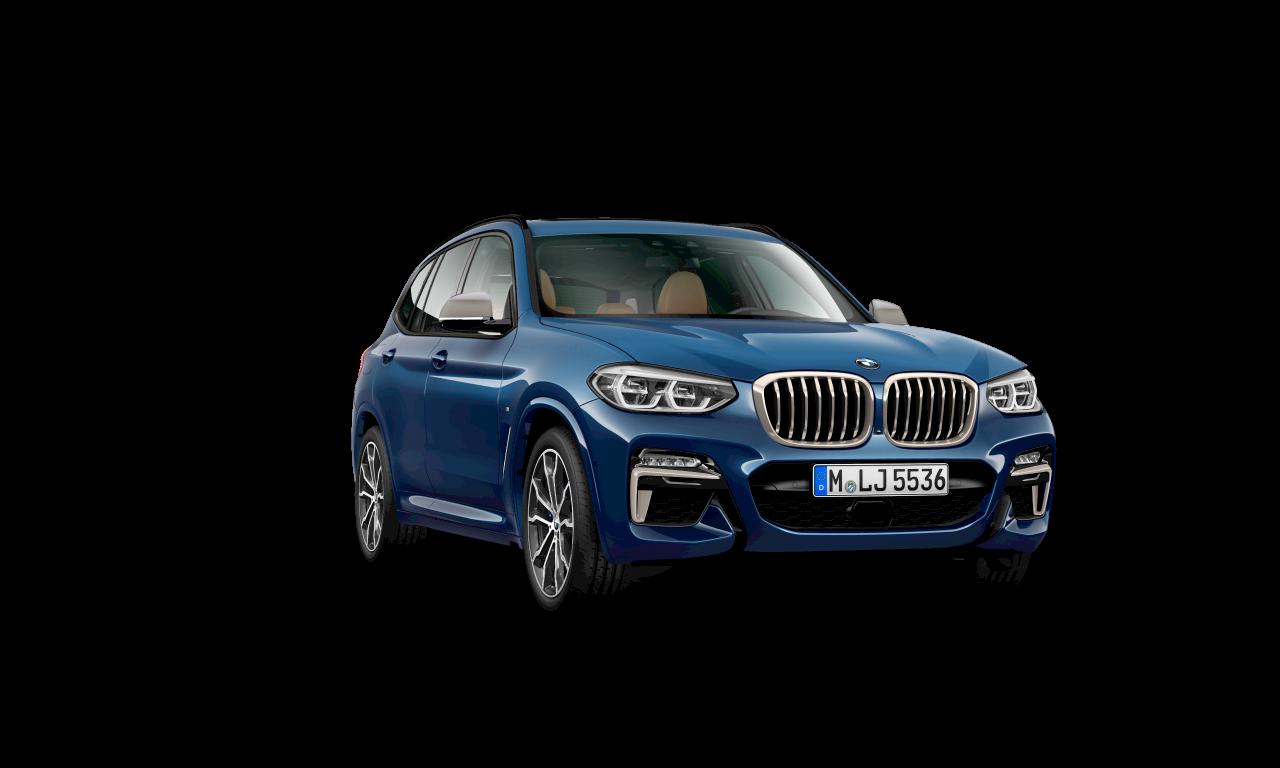 """الهيكل الخارجي لسيارة BMW X3 M40d باللون الأزرق """"فيتونك"""" ميتاليك."""