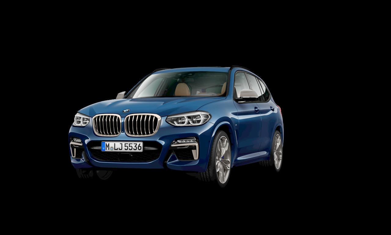 BMW X3 M40d のファイトニック・ブルー・メタリックカラー、エクステリア。