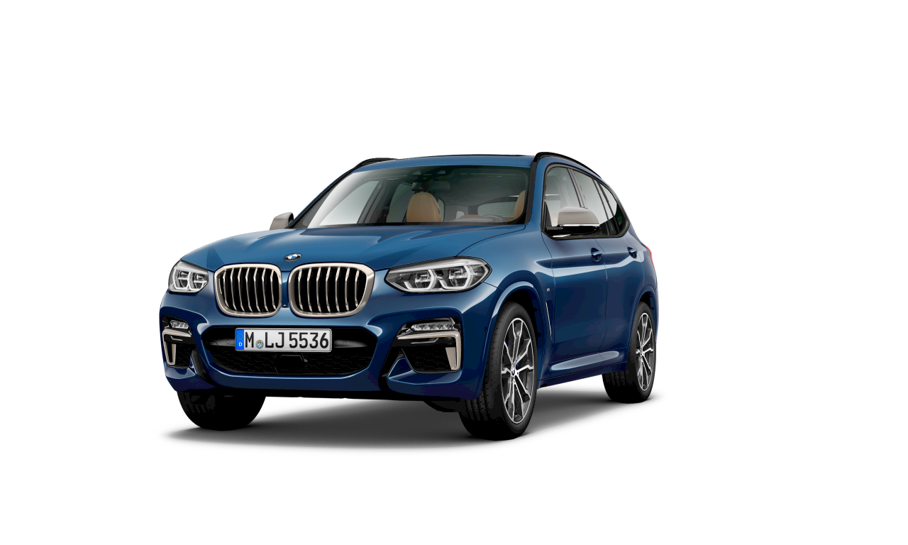 BMW X3 M40d in Phytonicblau metallic, exterieur.