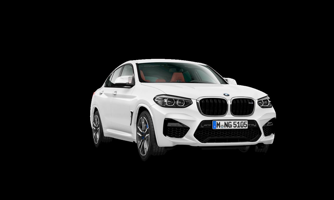 """سيارة BMW X4 M بلون أبيض """"آلباين""""، الهيكل الخارجي."""