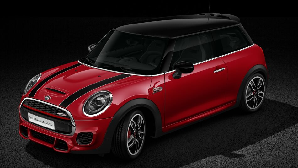 MINI John Cooper Works Hatch rear spoiler, front diagonal profile with aerodynamic kit.