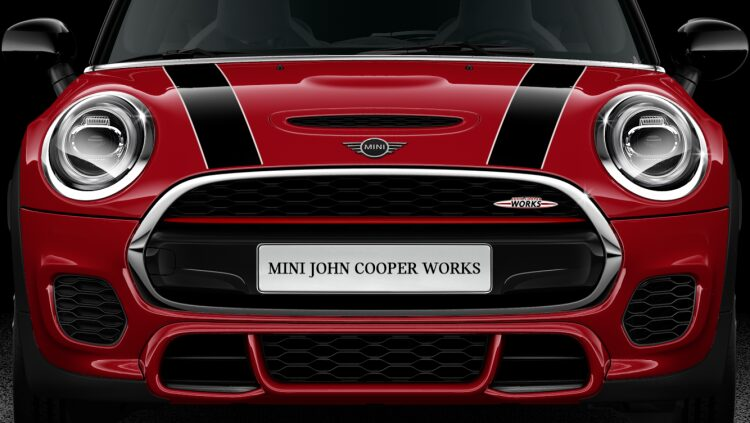 MINI John Cooper Works Hatch. John Cooper Works badge.