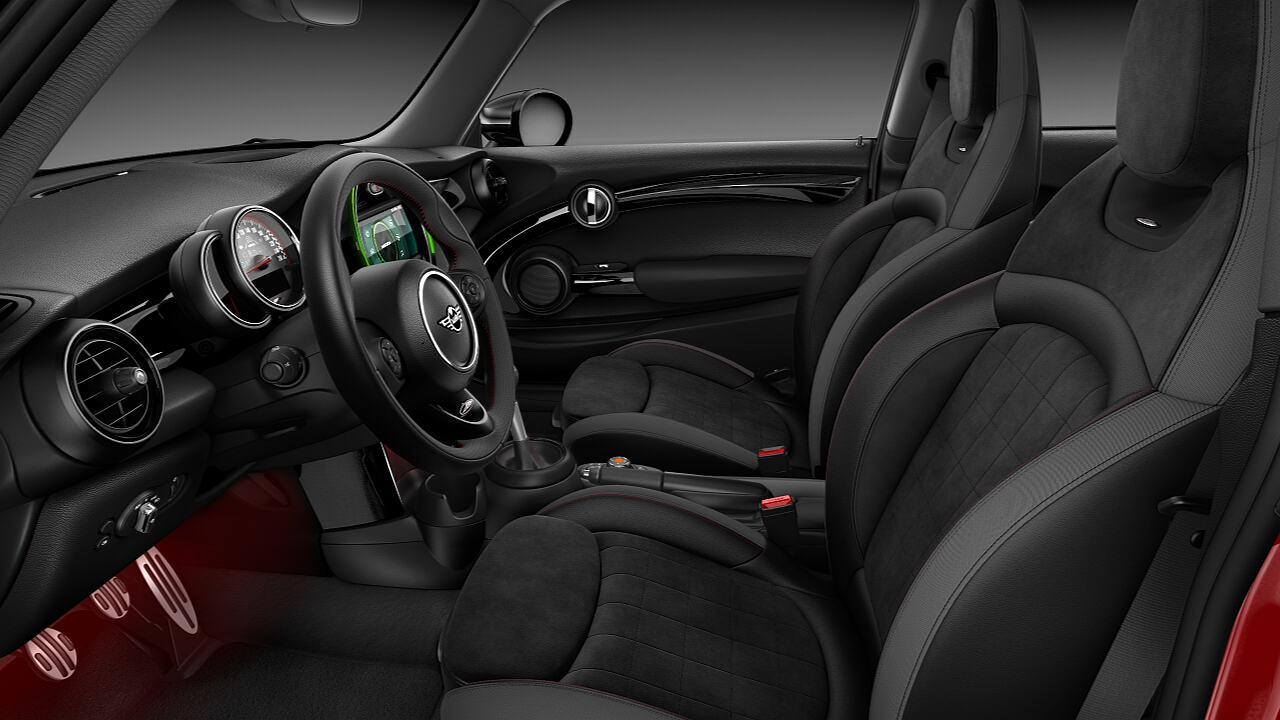 MINI John Cooper Works Hatch interior, clothed in Dinamica.