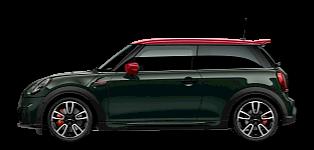 MINI John Cooper Works – widok zboku – zielone i czerwone