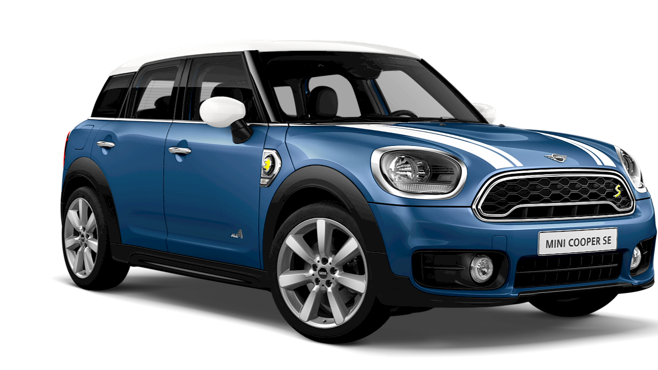 MINI Cooper S E All4 Countryman – blue – front and side view