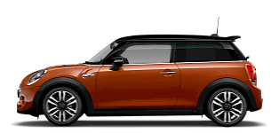 MINI Hatch 3 portes – vue de côté – orange