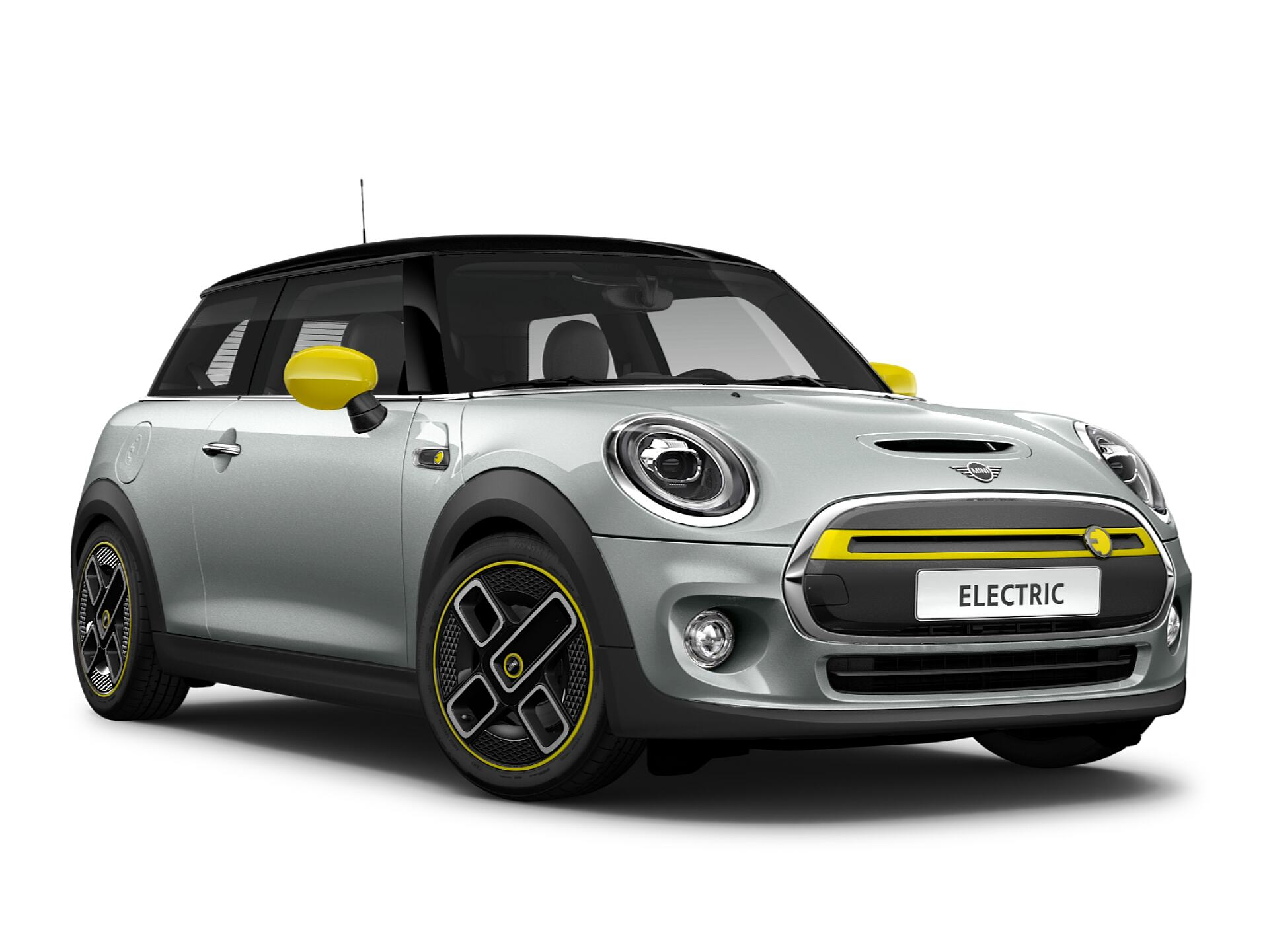 Mini electric – white and black – front view