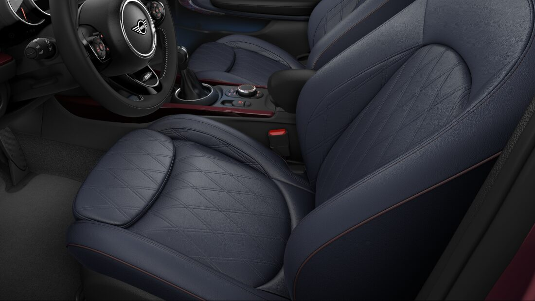 MINI Cooper Clubman leather chester seats in indigo blue