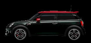 سيارة MINI John Cooper Works - صورة جانبية - باللونين الأخضر والأحمر