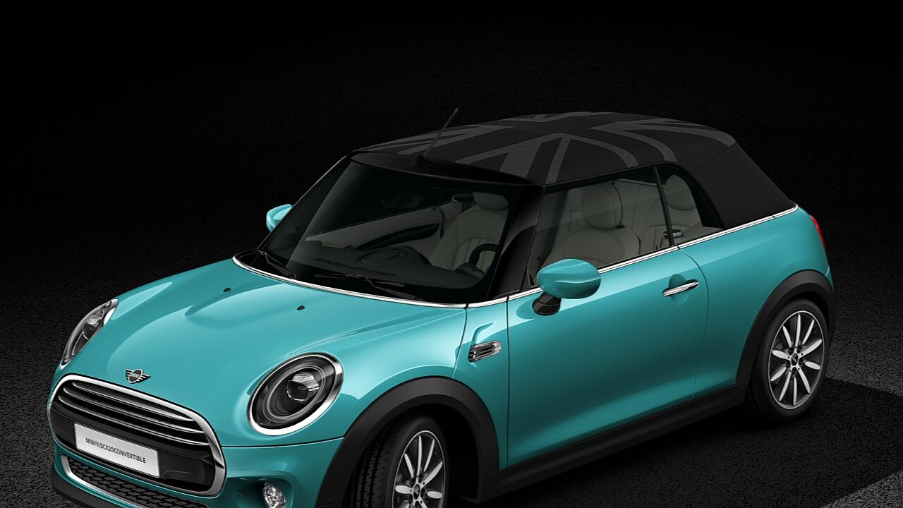 MINI Convertible Union Jack roof, front-diagonal view