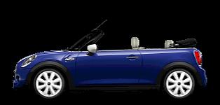 MINI Cabrio –vue de côté – bleu