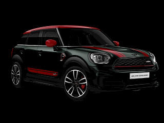MINI Countryman John Cooper Works – цвет sage green – вид спереди и сбоку