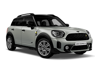 MINI Countryman SE All 4 – sage green – vista dianteira e lateral