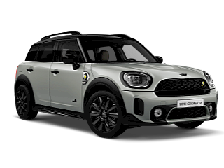 MINI Cooper SE All4 Countryman – white silver – front and side view
