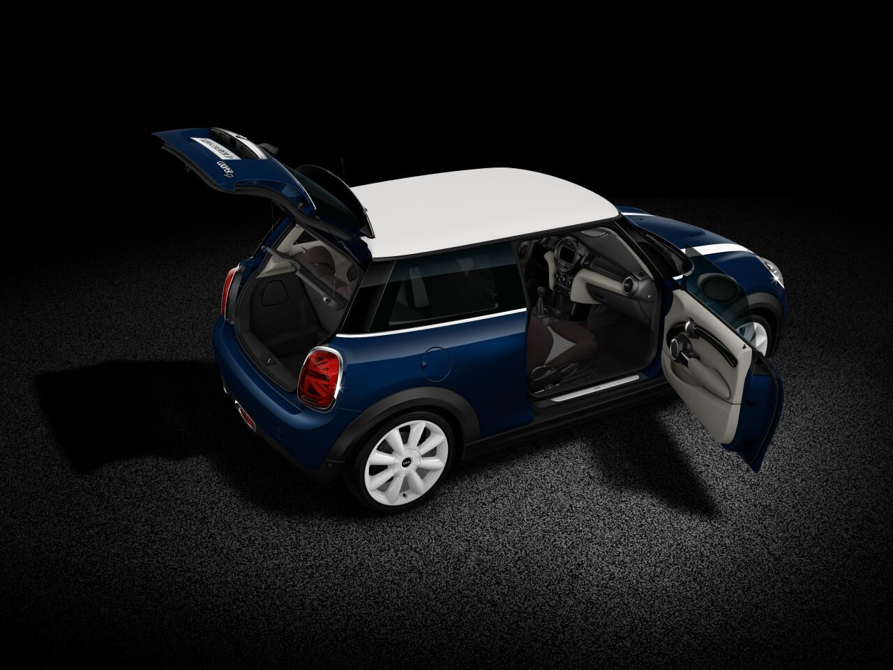 MINI Cooper D 3 Door full open body profile view