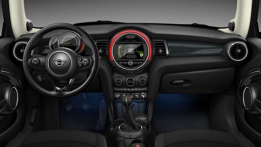 MINI Cooper 3 Door interior dashboard and steering wheel in Hazy Grey trim