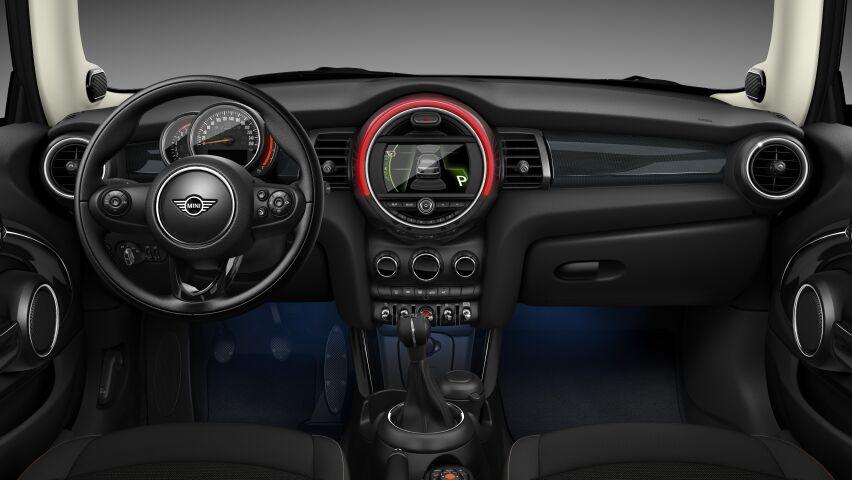 MINI Cooper 3 Door interior dashboard and steering wheel in Hazy Grey trim