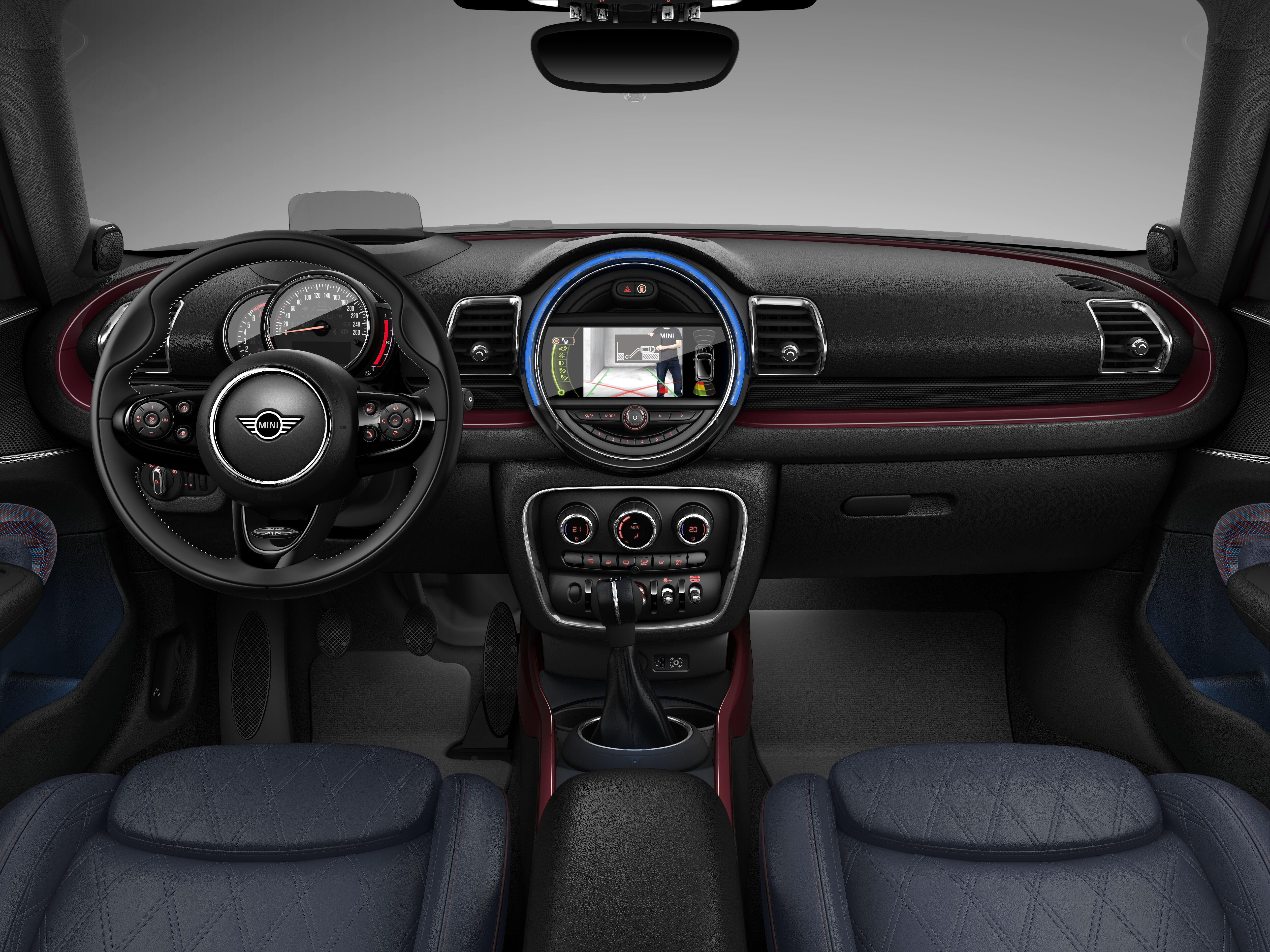 MINI Cooper Clubman interior; dashboard and steering wheel
