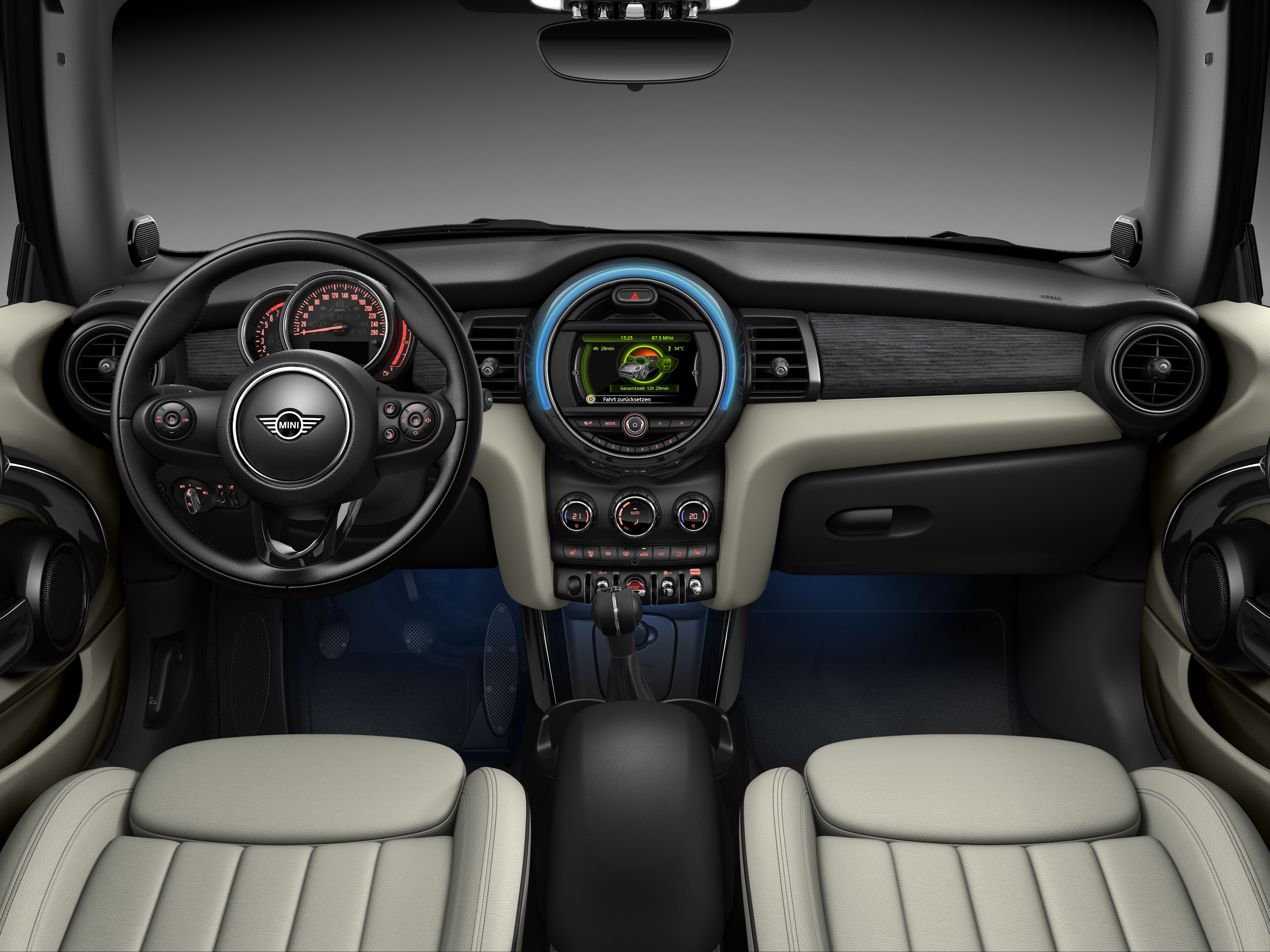 MINI Cooper Convertible front interior dashboard and steering wheel