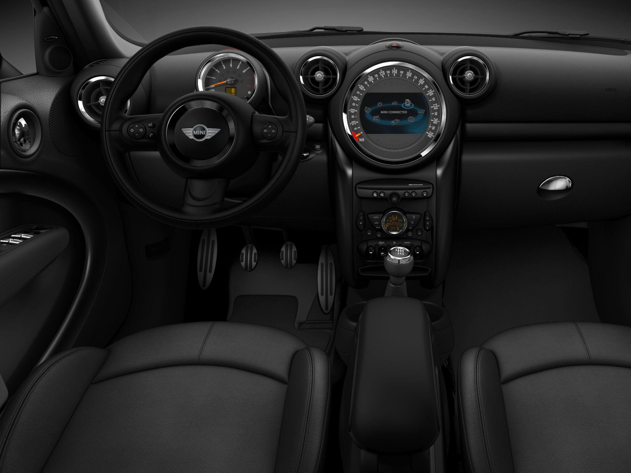 MINI Cooper S Crossover ALL4のクロス・ダイアゴナル・トラック・カーボン・ブラック・インテリアとダーク・アンスラサイト・スタイリング